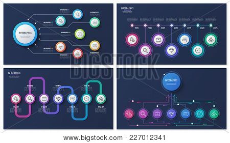 Set Of Vector 7 Options, Steps, Processes Infographic Designs For Presentations, Reports, Layouts, P