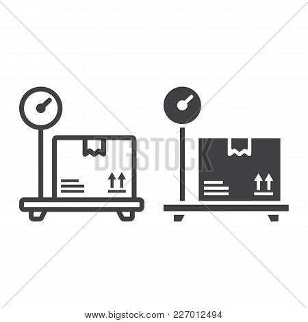 Box On Storage Scale Line And Glyph Icon, Logistic And Delivery, Platform Scale Sign Vector Graphics