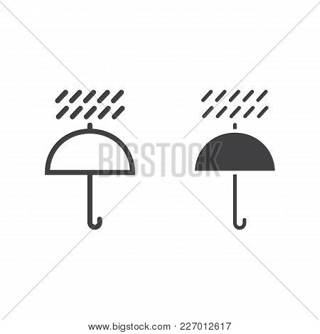 Umbrella Symbol Line And Glyph Icon, Logistic And Delivery, Keep Away From Water Sign Vector Graphic