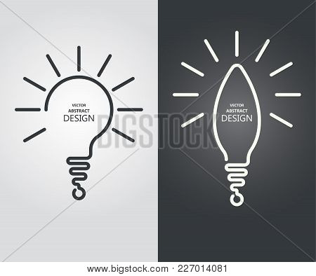 Set The Stylized Lamp, A Question Mark, The Exclamation Mark. Continuous Line.monochrome Icon.concep