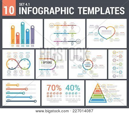 9 Infographic Templates, Set 4, Colors 1 - Timelines, Bar Charts, Pyramid, Percents, Steps/options,