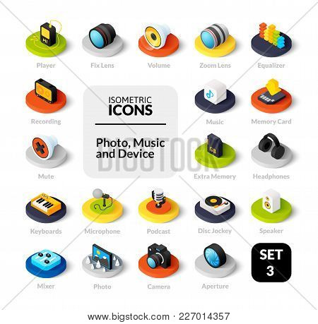Color Icons Set In Flat Isometric Illustration Style, Vector Symbols - Photo Music And Device Collec