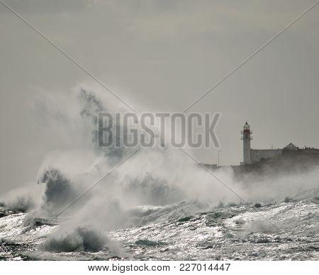 Big Waves And Lighthouse, Coast Of Taliarte, Gran Canaria, Canary Islands