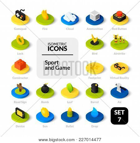 Color Icons Set In Flat Isometric Illustration Style, Vector Symbols - Games Collection