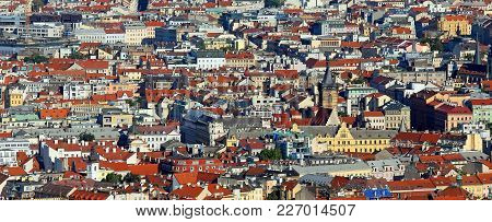 Prague Is The Capital Of Czech Republic In Europe. Aerial View With Houses