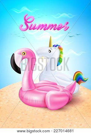 Vector Realistic 3d Pink Flamingo, Unicorn Rainbow Shape Inflatable Swimming Pool Ring, Tube, Float.