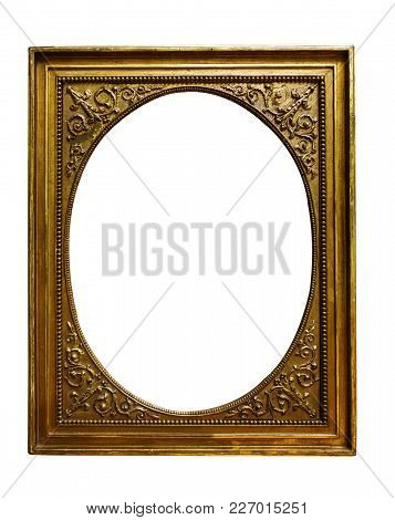 Picture Gold Wooden Frame On White Background