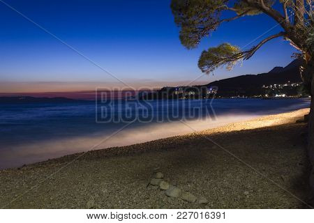Tucepi, Croatia - August 14 2017: Sunset View Of Tucepi Beach, Long Exposure Shot