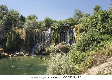 Studenci, Bosnia And Herzegovina - August 16 2017: Scenic View Of Kravica Waterfalls In Bosnia Herze