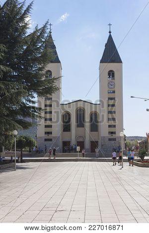 Medjugorje, Bosnia And Herzegovina - August 17 2017: Frontal View Of Saint James Church In Medjugorj