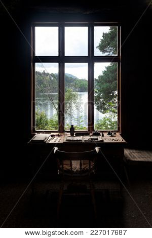 BERGEN, NORWAY - AUG 18, 2011: Small cabin by the Nordas Lake in Troldhaugen used by Norwegian composer Edvard Grieg to compose his greatest works