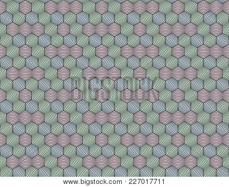 Abstract Seamless Surround Pattern Of Red. Green, Blue Threads. Optical Effects.