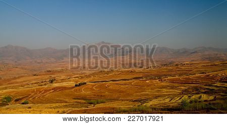 Landscape With The Agriculture Field Around Malealea From The Gateway Of Paradise Pass , Lesotho