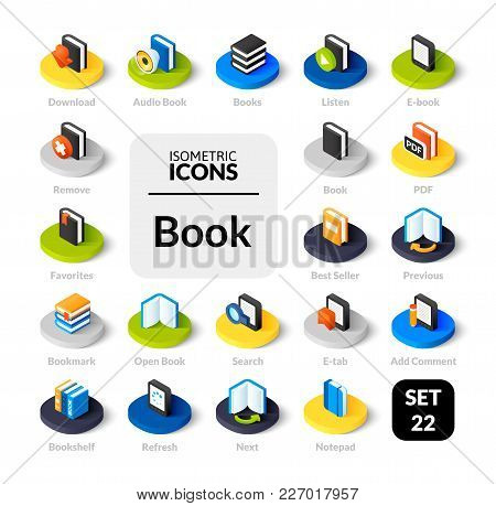 Color Icons Set In Flat Isometric Illustration Style, Vector Symbols - Book Collection