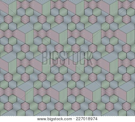 Abstract Seamless Surround Pattern Of Red. Green, Blue Cubes And Threads.. Optical Effects.