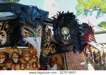 Venice, Italy - August 13, 2016: Traditional Venetian Masks In Street Souvenir Store