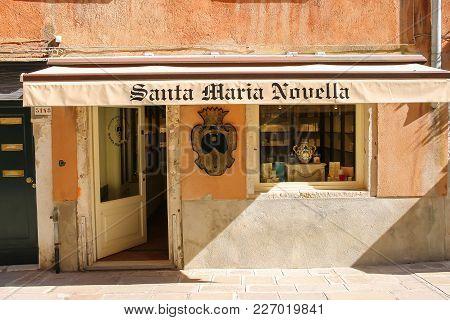 Venice, Italy - August 13, 2016: Ancient Architecture Of Historic City Center (santa Maria Novella S