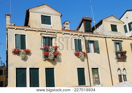 Old Building On Sant Anzolo Square In Venice, Italy