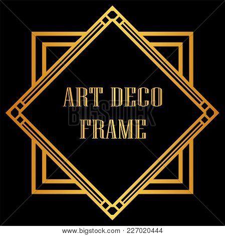 Vintage Retro Golden Frame In Art Deco Style. Template For Design