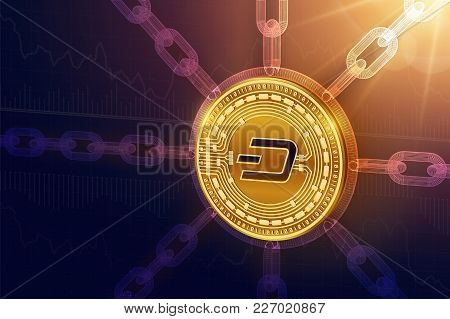 Dash. Crypto Currency. Block Chain. 3d Isometric Physical Dash Coin With Wireframe Chain. Blockchain