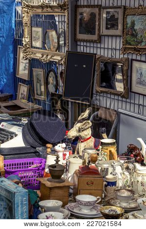 Berlin / Germany - March 27 2016: A Scary Donkey And Many Old Frames At The Mauerpark Sunday Flea Ma