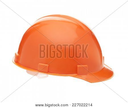 Orange construction helmet ( hard hat) on a white background. Protective clothes.