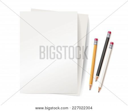 Vector Realistic 3d Yellow White Wooden Pencil Rubber Eraser, Blank Empty Paper Sheet. Sharpened Det