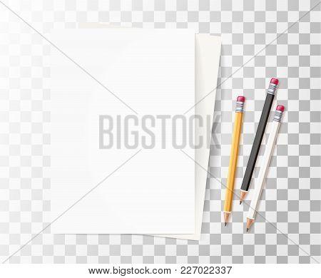 Vector Realistic 3d Yellow White Wooden Pencil Rubber Eraser Blank Empty Paper Sheet. Sharpened Deta