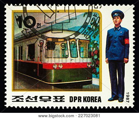 Moscow, Russia - February 17, 2018: A Stamp Printed In Dprk (north Korea), Shows Metro And Man Train