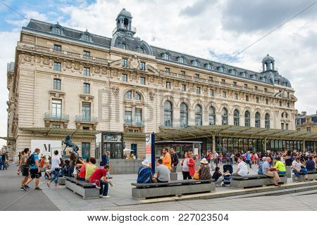 PARIS,FRANCE - AUGUST 1,2017 : The Musee D'Orsay in Paris, famous for its collection of impressionist masterpieces