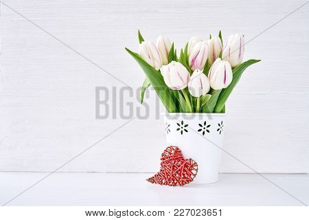 White Tulips Bouquet In White Vase Decorated With Red Heart. Valentines Day, Wedding Concept. Copy S