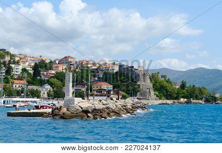 Herceg Novi, Montenegro - September 10, 2017: View Of Resort Town Of Herceg Novi And Fortress Of For