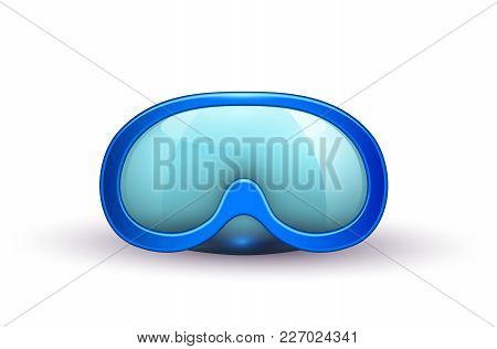 Vector Realistic Scuba Diving Blue Mask Goggles. 3d Snorkeling, Underwater Swim Equipment. Summer Tr