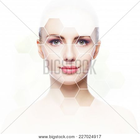 Facial Portrait Of Young And Healthy Girl. Plastic Surgery, Skin Care, Cosmetics And Face Lifting Co