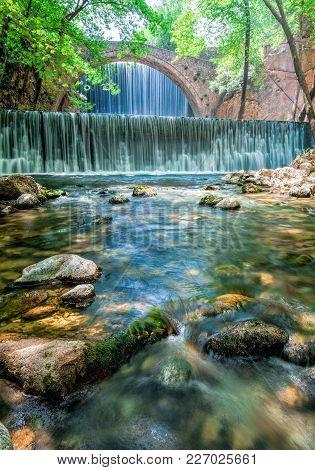 Double Water Fall Near Trikala In Greece