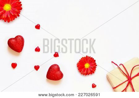 A Gift On A White Background With Decorations. The Concept Of The St. Valentine's Day, Weddings, Bir