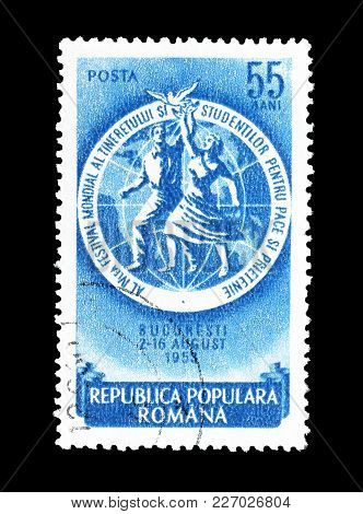 Romania - Circa 1953 : Cancelled Postage Stamp Printed By Romania, That Shows Girl And Boy With Peac