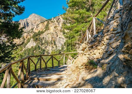Trail In Samaria Gorge In Central Crete, Greece