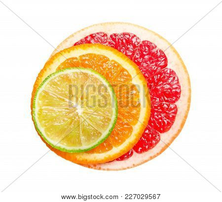 Grapefruit, Orange And Lime Isolated On White Background. Round Slice Of Juicy And Fresh Grapefruit,