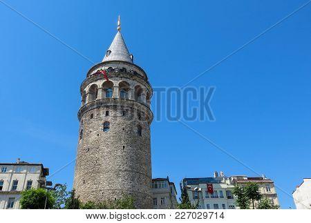 The Galata Tower In Istanbul, Turkey. Galata Bridge, Karakoy District And Golden Horn, Istanbul.
