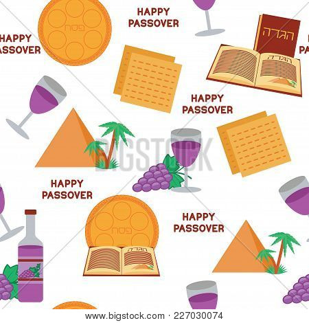 Passover Seamless Pattern Background. Jewish Holiday Symbols. Happy Passover. White Background. Vect