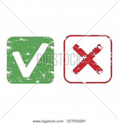 Rubber Stamp Approve And Reject Vector Texture. Mark Stamp Imprint, Print Approve Grunge Texture Ill
