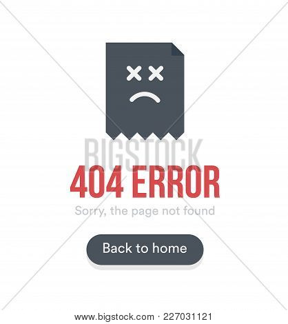 404 Error With Text, Webpage Icon And Button, Black Vector Template On White Background