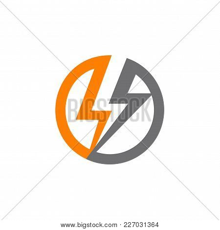 Renewable Sources Of Energy, Lightning In Circle Abstract Vector Logo