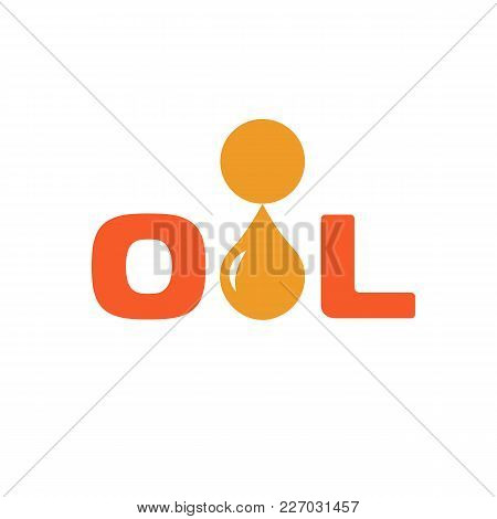 Oil Icon, Drop, Abstract Vector Isolated Orange Color Logo