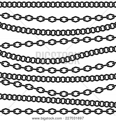 Chain Vector Pattern. Black Silhouette On White Background