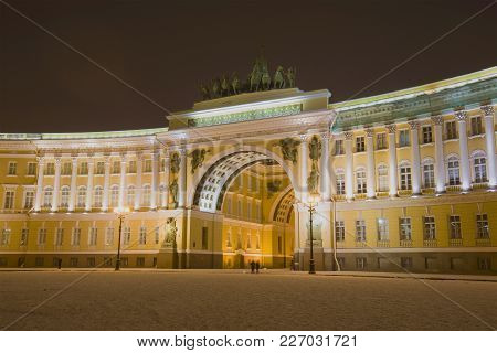 Saint Petersburg, Russia - January 08, 2018: View Of The Arch Of The General Staff Building In Janua
