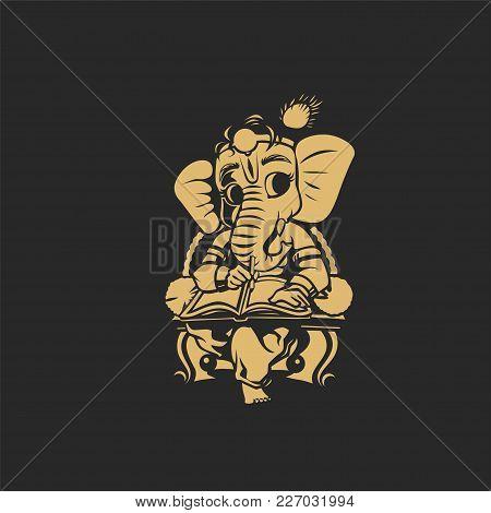 Golden Lord Ganesh On Black Background Vector Illustration Design.