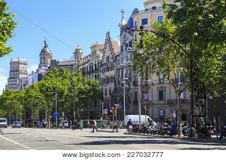 Batcelona, Spain - May 12, 2017: This Is Passeig De Gracia, Which Is Located In The Eixample Distric