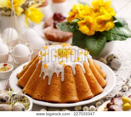Easter Yeast Cake With Icing And Candied Orange Peel, Delicious Easter Dessert, Traditional Easter P